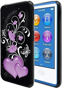 FINCIBO Case Compatible with Apple iPod Nano 7, Flexible TPU Black Silicone Soft Gel Skin Protector Cover Case for iPod Nano 7 (7th Generation) - Purple Hearts Vines