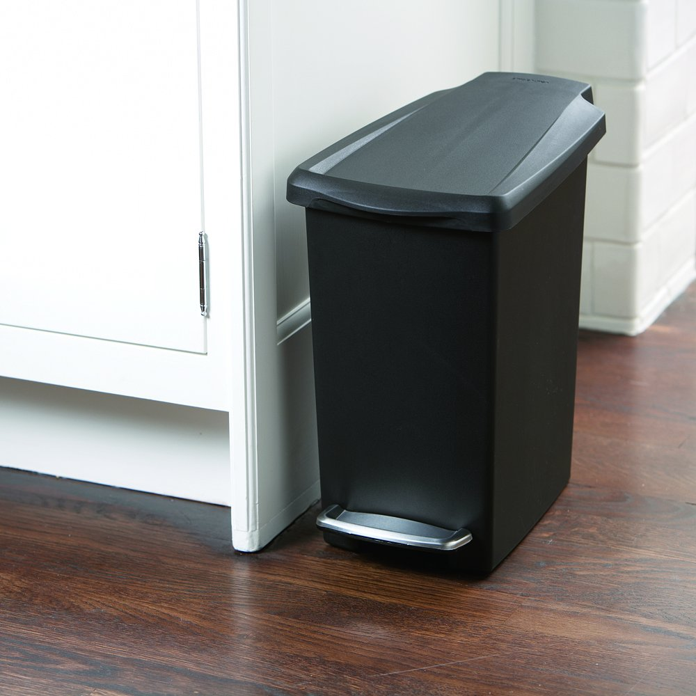 garbage cans tips you absolutely have to do. Amazon.com: Simplehuman Slim Step Trash Can, Black Plastic, 10L / 2.6 Gal: Home \u0026 Kitchen Garbage Cans Tips You Absolutely Have To Do H