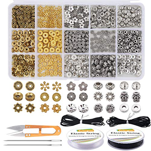 Metal Bead Kit - EuTengHao 607Pcs Spacer Beads 15 Style Metal Jewelry Bead Charm Spacers Kit for Jewelry Making Bracelets Necklace Accessories Pendants Tool Kit (Gold, Bronze, Dull Silver and Bright Silver;4 Colors)