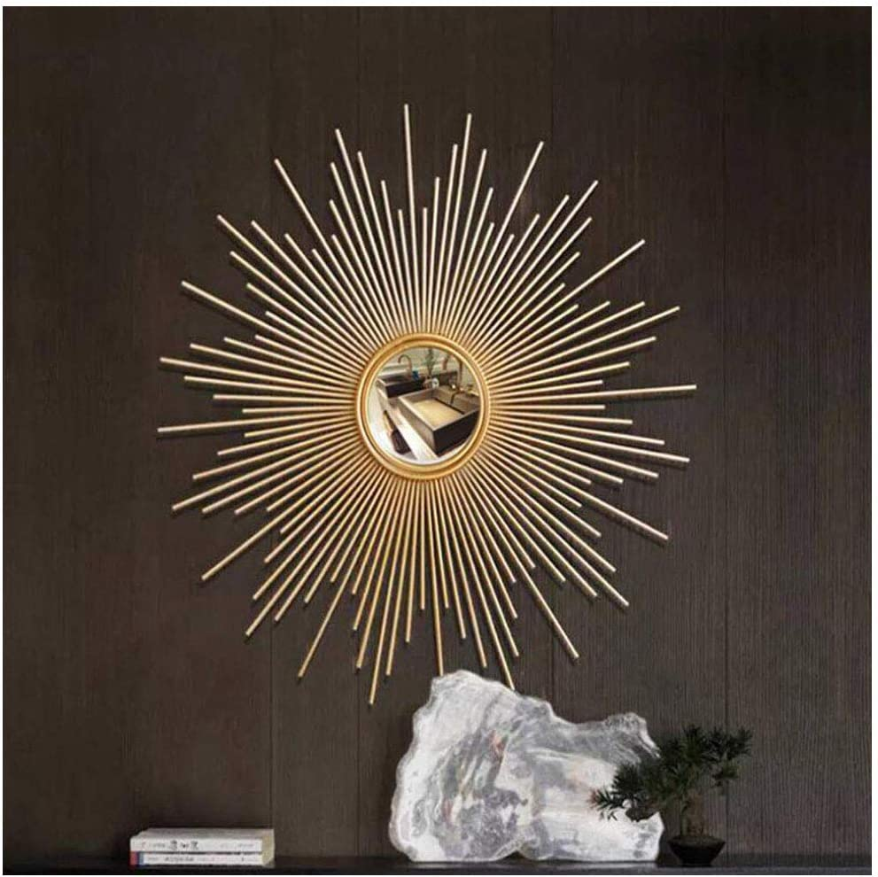 Amazon Com Round Wall Mirrors For Living Room Gold Sunburst Large Round Mirror Ornate Mirror Silver Decorative Wall Mountable Shabby Chic Home Decor Wall Mirrors For Hallway 70cm Home Kitchen