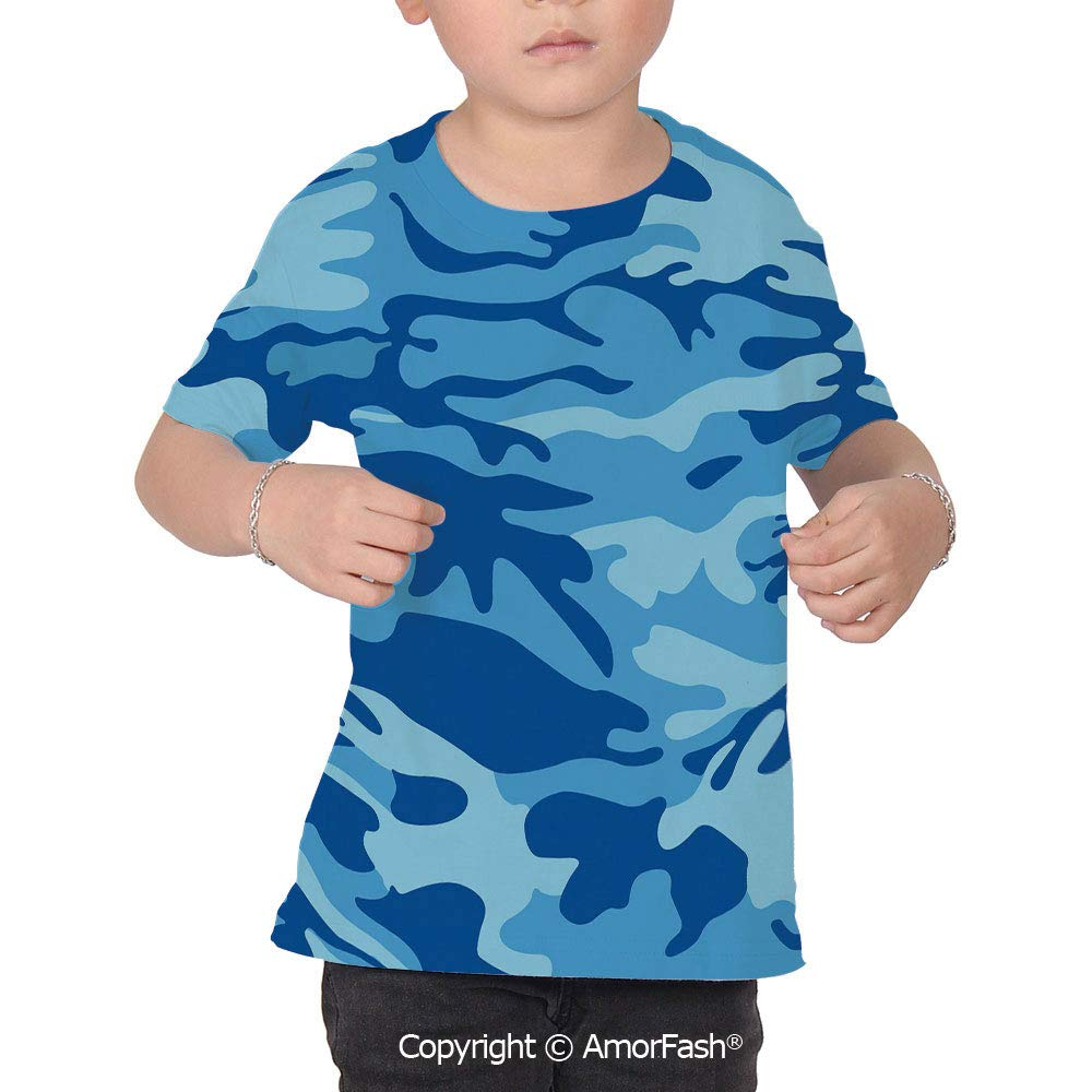 PUTIEN Camouflage Colorful Boys and Girls Soft Short Sleeve T-Shirt,Abstract Camo Navy