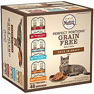 NUTRO PERFECT PORTIONS Grain Free Natural Adult Wet Cat Food Cuts in Gravy Real Beef, Real Tuna, and Real Chicken Recipes Variety Pack, (24) 2.6 oz. Twin-Pack Trays 80