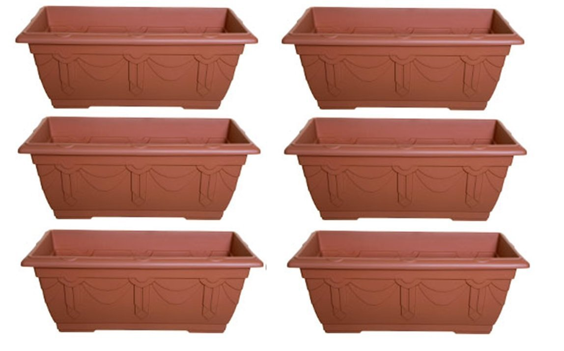 6 6 x Whitefurze 60cm Venetian Window Box Trough Terracotta Colour Plastic Planter