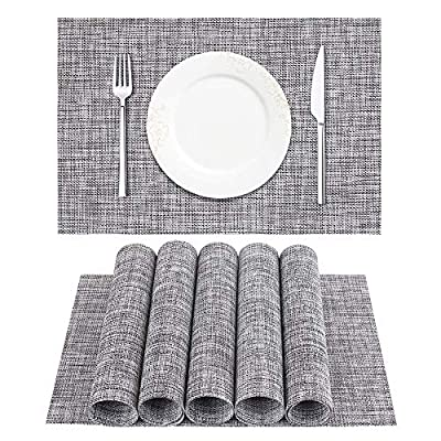 "DACHUI Placemat, Crossweave Woven Vinyl Non-Slip Insulation Placemat Washable Table Mats Set of 6 (Grey) - Size in:18""X12""(45cmX30cm),Set of 4. Composition: 70% PVC, 30% polyester Ultra-durable, uv protected to resist fading, designed to last for years with daily use. Washable,non-fading,non-stain,Not mildew,Wipe Clean,wearproof,dries very quickly. - placemats, kitchen-dining-room-table-linens, kitchen-dining-room - 61XwjI hxxL. SS400  -"