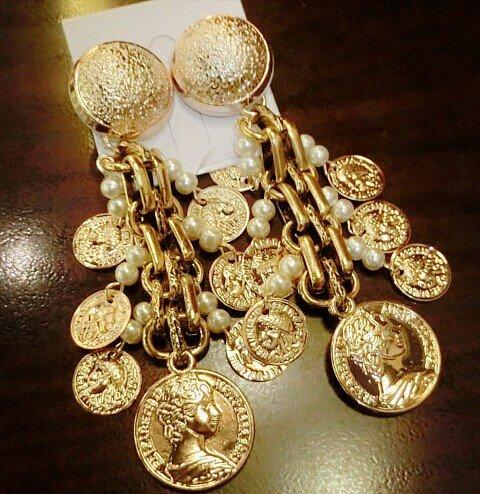 usongs Fine big big fashion theme with paragraph retro elements coins exaggerated tassel earrings