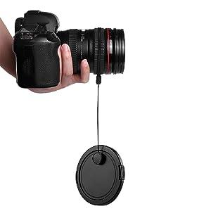 Camera Lens Cap Keeper Lens Cap Holder Prevent Lens Cap Lost for DSLR SLR Camera Canon/Nikon/Sony/Panasonic/Fujifilm Camera With Microfiber Cleaning C