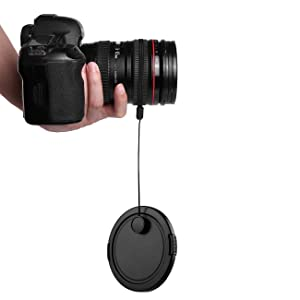Camera Lens Cap Keeper Lens Cap Holder Prevent Lens Cap Lost for DSLR SLR Camera Canon/Nikon/Sony/Panasonic/Fujifilm Camera With Microfiber Cleaning C