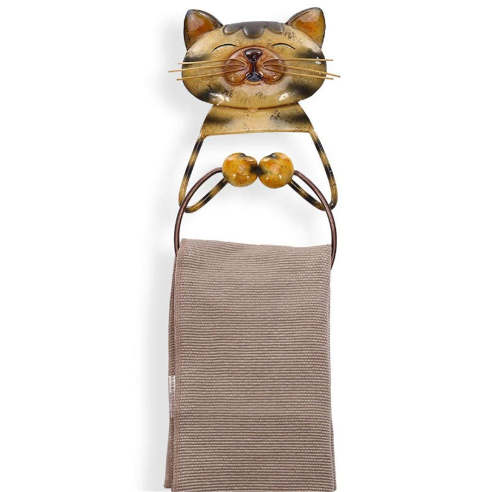 Joeesun Portasalviette per gatti Portarotolo per bagno in ferro resistente Appendiabiti per animali Mensola per il bagno in stile Porta asciugamano scandinavo