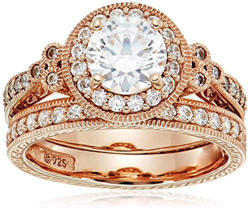 Rose-Gold-Plated Sterling Silver Antique Rings set made with Swarovski Zirconia, Size - Rose Antique Rings Gold