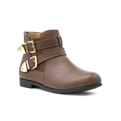Womens Tan Double Buckle Ankle Boot