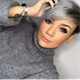Mmwigs Grey Ombre Short Wigs With Bangs Buy Online In Bahamas At Desertcart