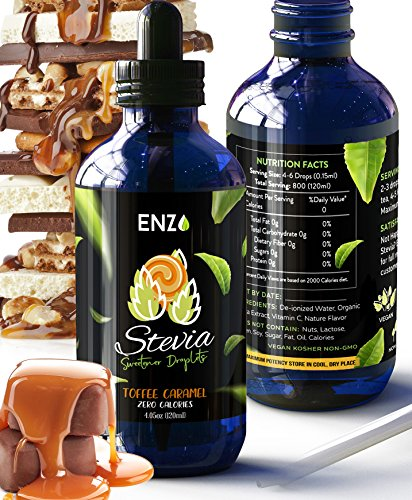 Enzo Toffee Caramel Stevia Drops 4oz Bottle  Our Zero Calories Sweetener is made with Organic Certified Stevias extract . All Natural flavoring with No Artificial Additives & Filler Ingredient