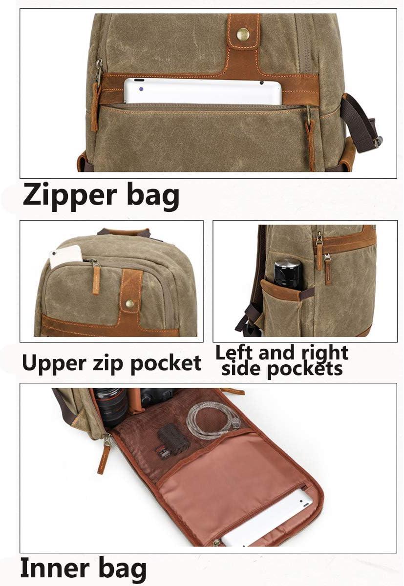 OLDFAI Camera Bag Backpack Waterproof Canvas Camera Backpack for Photographers Waterproof for Men Women DSLR Camera Bag Laptop Compartment Vintage Durable Genuine Leather