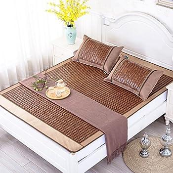 "Qbedding Carbonized Bamboo Summer Sleeping Mat Cooling Mattress Topper Pad, Full/Double 53"" x 75"" (No Pillow Shams)"