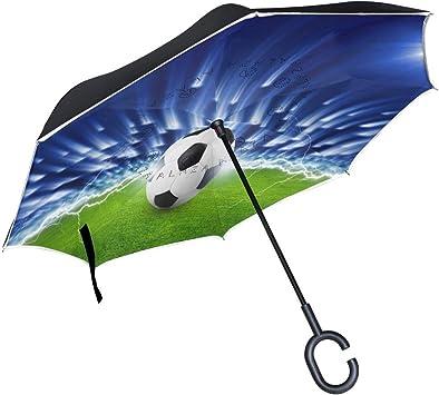 Abstract Sport Paraguas invertido de balón de fútbol, Grande, Doble ...