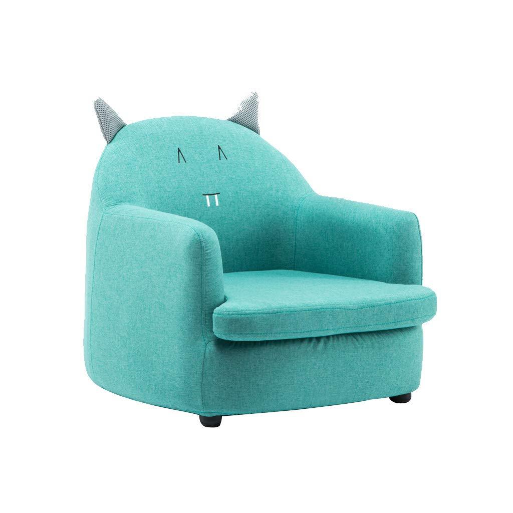 WANGJIN-Sofa infantil Cute Animal Sillones para niños Juego de sofá para niños Sofá Asiento Juego Silla Asiento Reposapiés Lino Natural Extraíble Lavable (Color Azul)