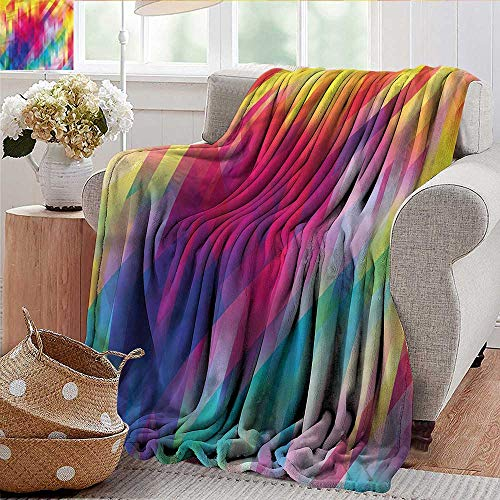 Cheap Xaviera Doherty Weighted Blanket Rainbow Diagonal Crosswise Lines Luxury Flannel Throw Blankets for Bed(Lightweight Super Soft) 60