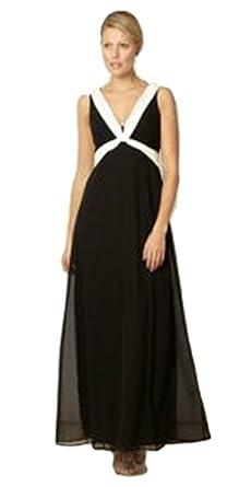 Ex Debenhams Ex Debut Black White Prom Ball Maxi Long Gown Dress Size 8 10 14