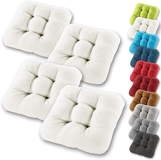 Gräfenstayn® Set de 4 Cojines de Asiento cojín de Silla 38x38x8cm para Interior y Exterior - Funda de algodón 100% - Muchos Colores - Acolchado Grueso/cojín de Suelo (Crema): Amazon.es: Jardín