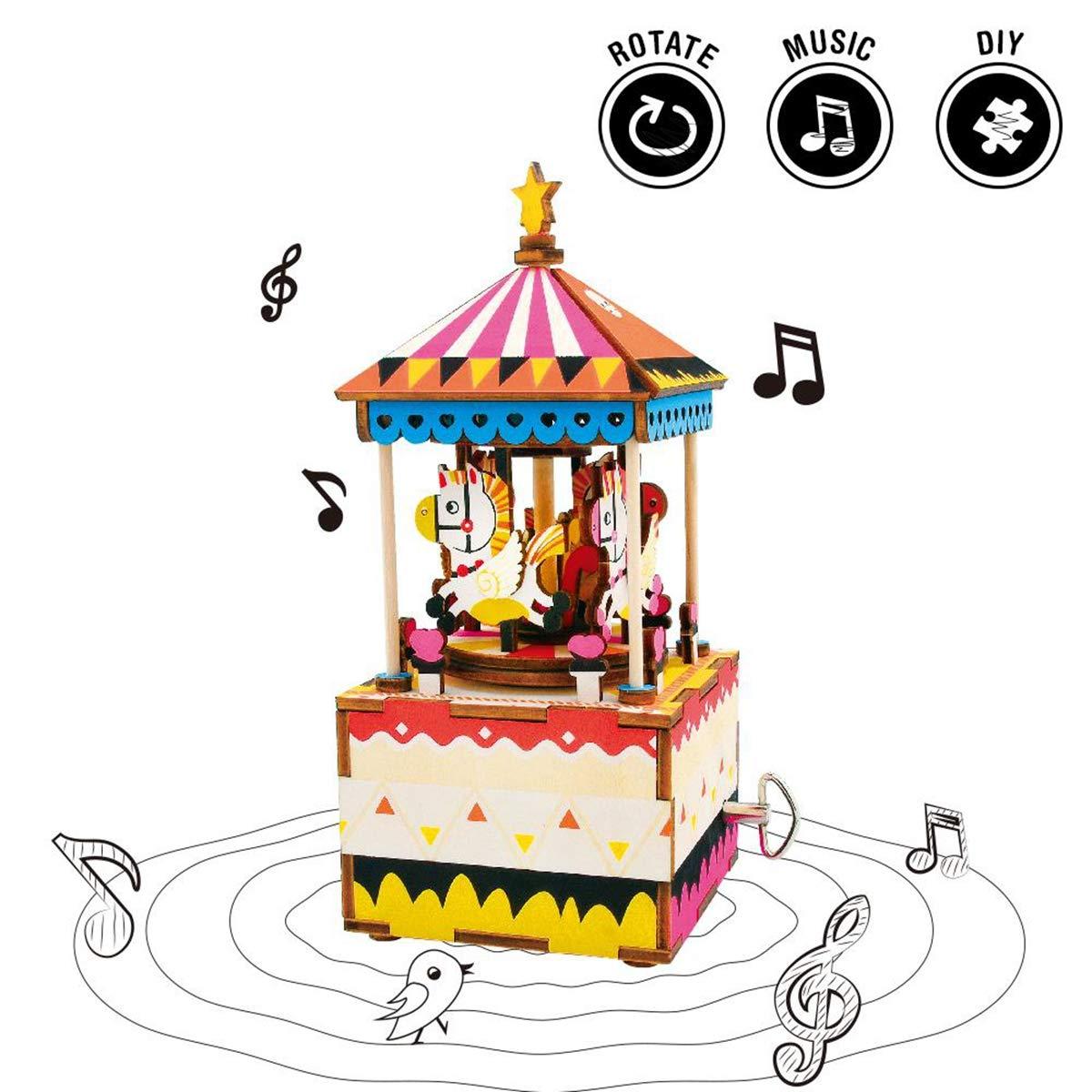 HXZB 3D Wooden Puzzle DIY Music Box Set Farbeful Rotating Wooden Craft Set Best Holiday and Birthday Gift Merry-go-Round B07L2WY858 3D-Puzzles Spielzeugwelt, fröhlicher Ozean   | Gewinnen Sie das Lob der Kunden