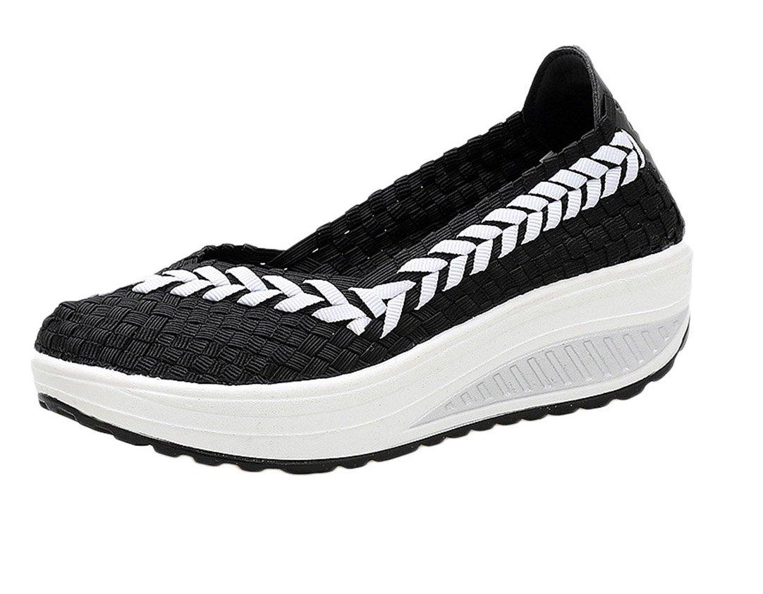 Damen Sandalen Gewebt Freizeit Slippers Plateau Bequeme Atmungsaktiv Sommer Schuhe Schütteln  35 EU|Schwarz
