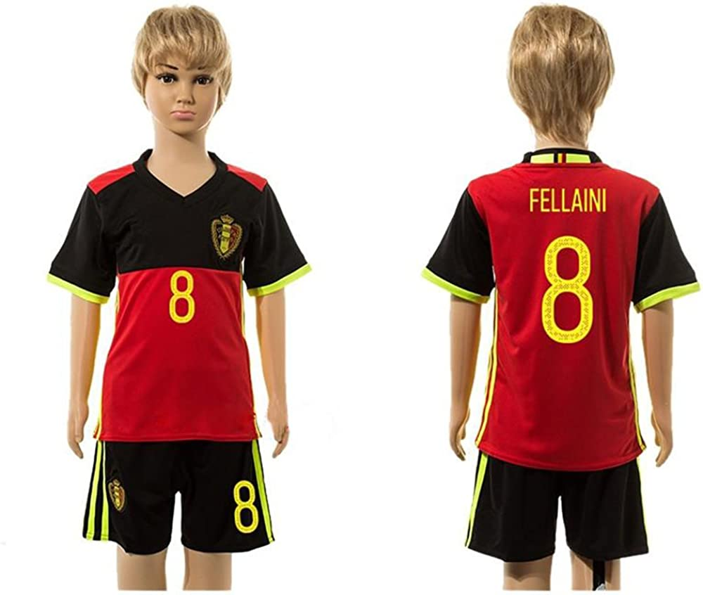 2016 2017 For Fans Belgium 8 Marouane Fellaini Home For Children Kid Youth Football Soccer Jersey Sets In Red
