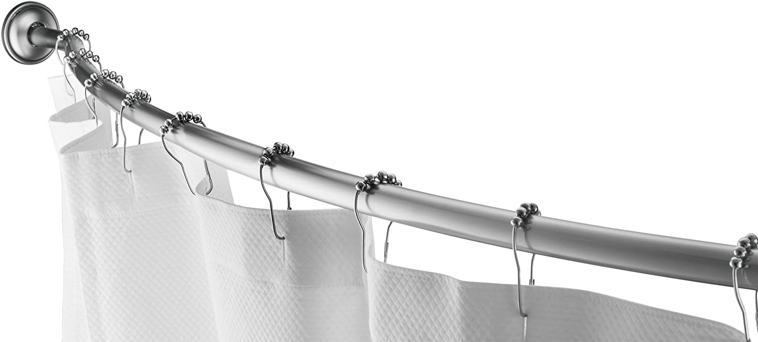 """Home Basics Wall Mounted Curved Shower Rod Extendable/Adjustable 42"""" to 72"""" Length for Customized Fit, Non Rust, Hardware Included, Adds Up to 5 Inches of Shower Space Satin Nickel"""