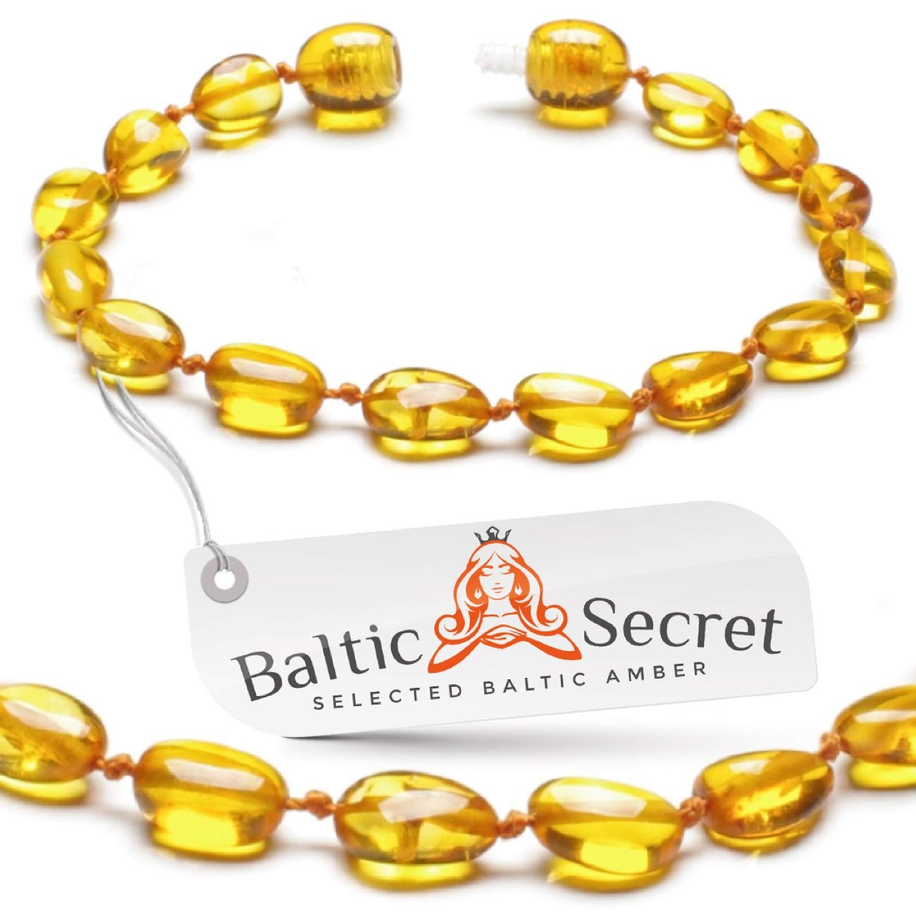 Premium Amber Teething Bracelet Anklet/Extra Safe / 50% Richer and Higher in Value/Sizes from 4.5 in to 8 in/Reduces Teething Symptoms Naturally/HNY.U-BN / 17.5CM / 6.9IN by Baltic Secret