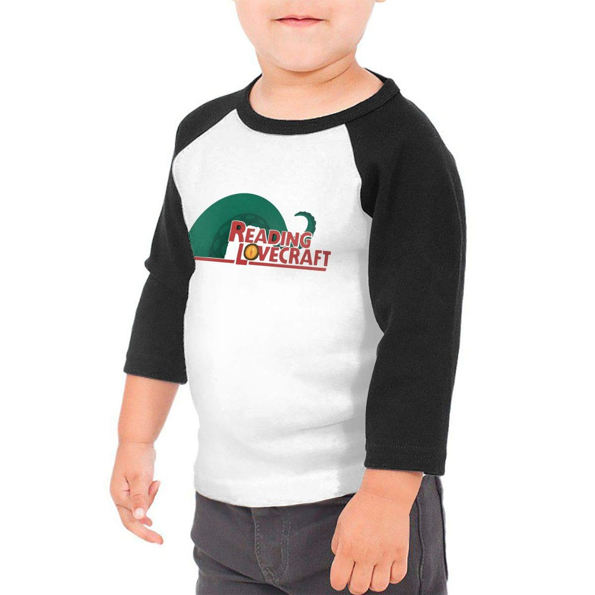 yimo Reading Lovecraft Unisex Toddler Baseball Jersey Contrast 3//4 Sleeves Tee