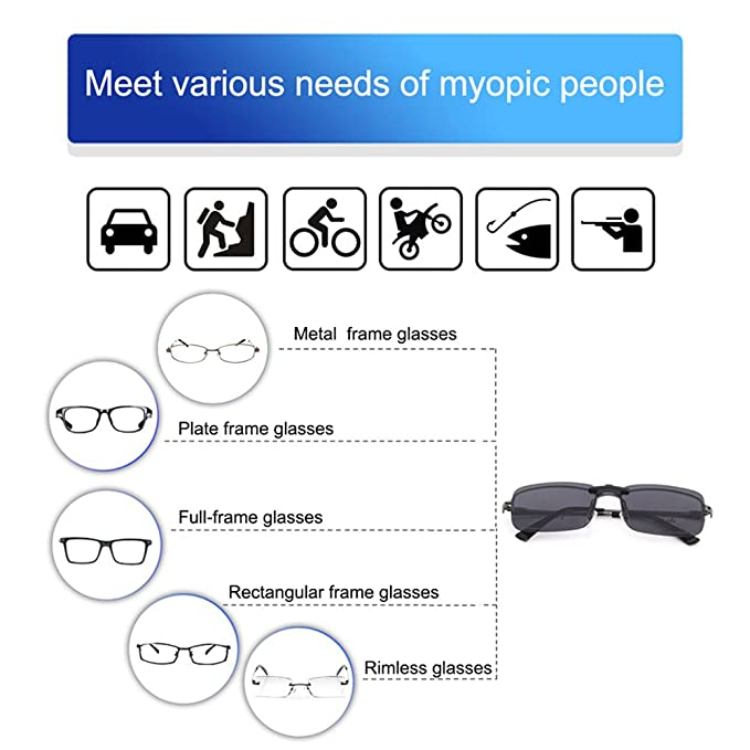 fe69fe87d3 TERAISE Polarized Clip-on Sunglasses Over Prescription Glasses Anti-Glare  UV402 for Men Women Driving Travelling ...