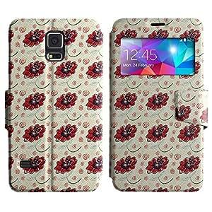 LEOCASE flores rojas Funda Carcasa Cuero Tapa Case Para Samsung Galaxy S5 I9600 No.1003760