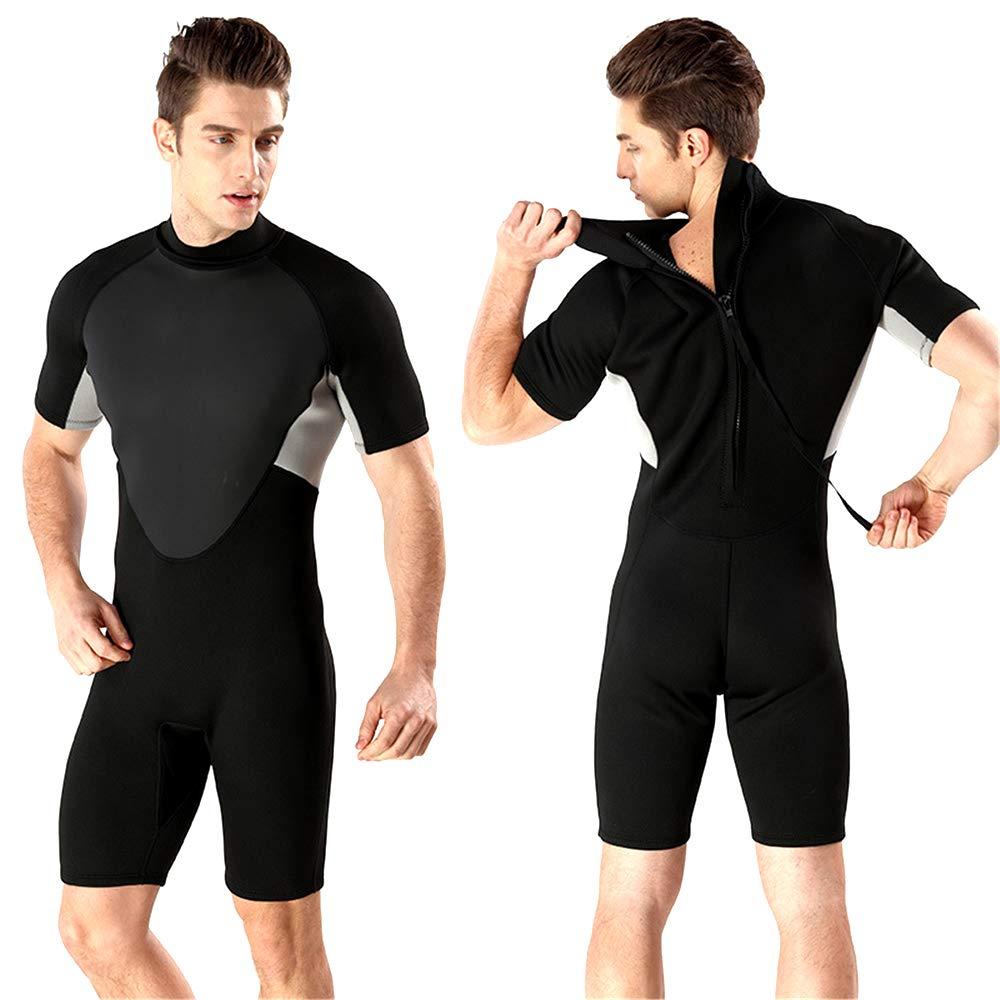 noir S 2mm Hommes courtes à Manches Courtes Costume De Plongée Hiver Froid Chaud Combinaison en Néoprène Surf VêteHommests Néoprène Combinaison