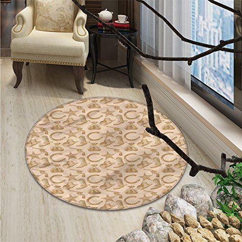 Western Round Rug Kid Carpet Engraving Style Star Boot and Money Revolver Line Pattern Worn Out Dotted BackdropOriental Floor and Carpets Tan ()