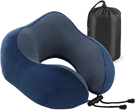 Gray Travel Pillow Memory Foam Neck Pillow Neck Support Pillow,Easy Removable and Washable Cover