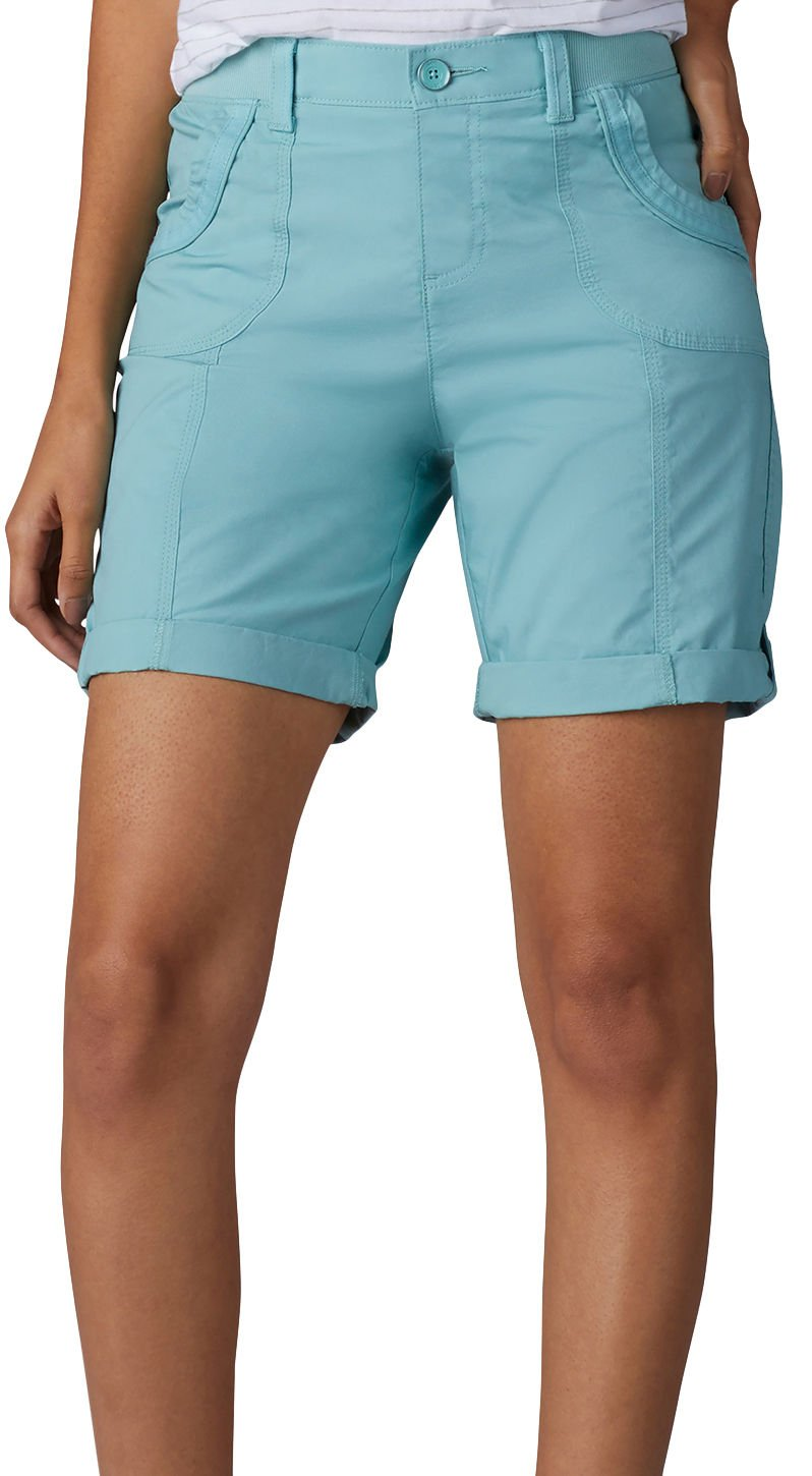 LEE Women's Relaxed Fit Melody Knit Waist Bermuda Short, Aquifer, 12 Petite