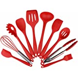 Silicone Spatula Set - Yamoo 10 Piece Heat-Resistant Spatulas & Baking Spoon, Safe Soft and Non-stick Flexible Silicone Rubber Spatulas - Strong Stainless Steel Core