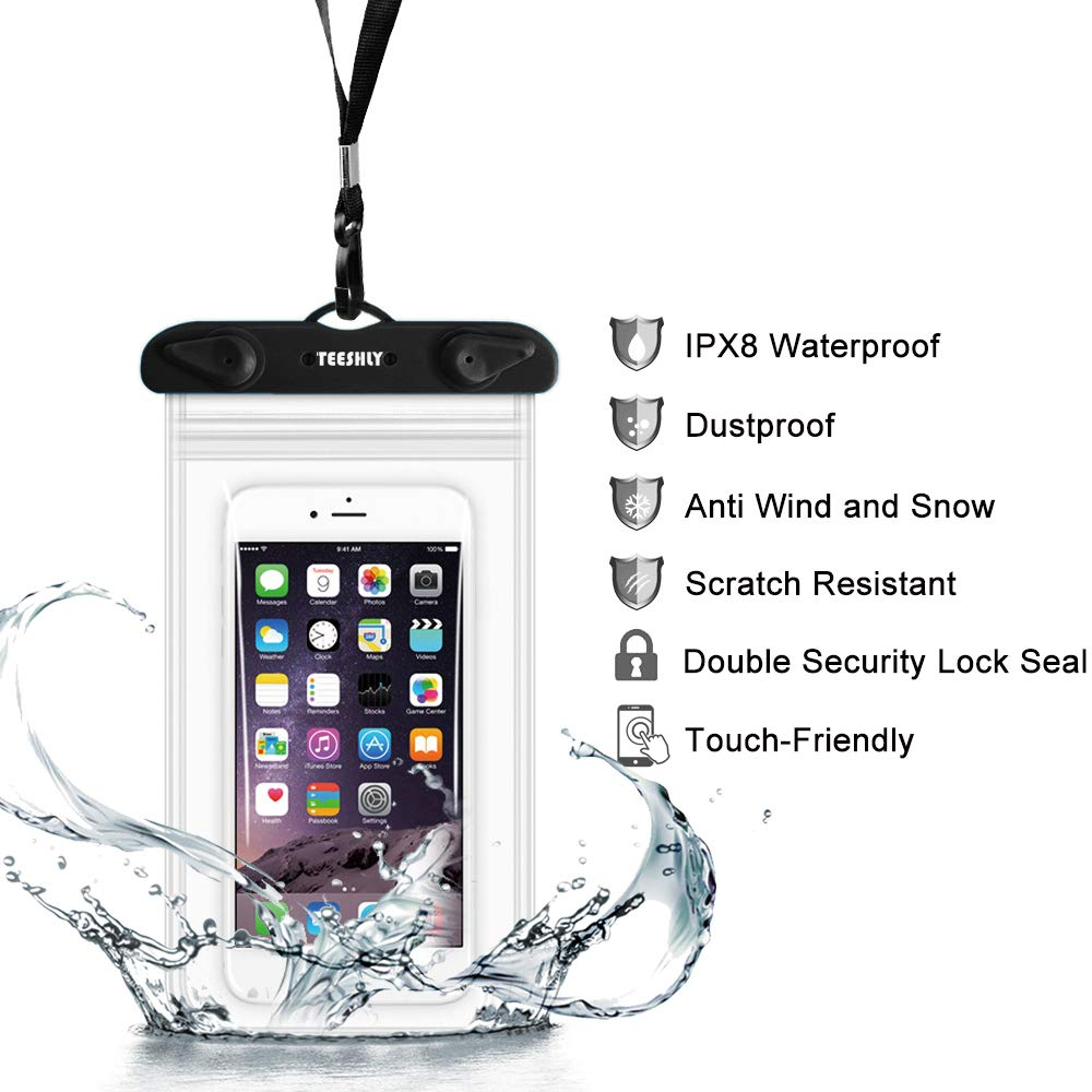 Black+White+Green IPX8 Waterproof Clear Phone Pouch Dry Bag Compatible for iPhone Xs Max//Xr//Xs//X//8//8P//7//7P//6 Galaxy//Google Pixel//LG//HTC up to 7.0 inche -3 Pack Teeshly Universal Waterproof Case