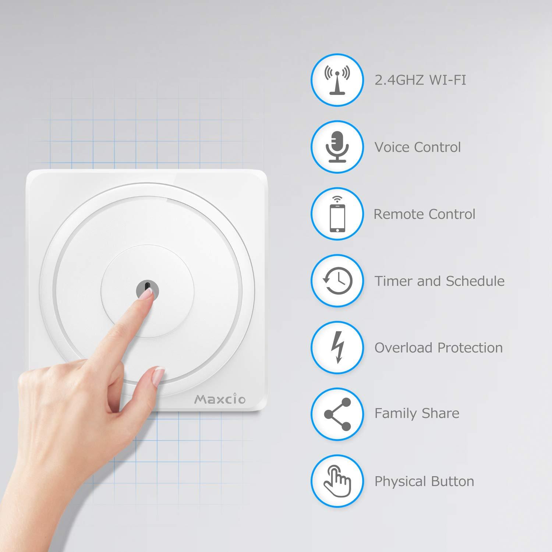 Control de APP y Funci/ón de Temporizador Maxcio Interruptor Inteligente 1 Gang Compatible con Alexa Neutral Requerido Interruptor Luz WiFi Google Home y IFTTT