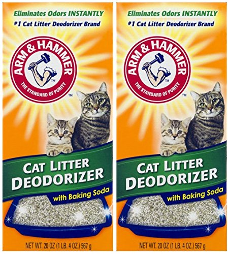 Litter Box Freshener - ARM & HAMMER Cat Litter Deodorizer With Activated Baking Soda 20 oz (Pack of 2)