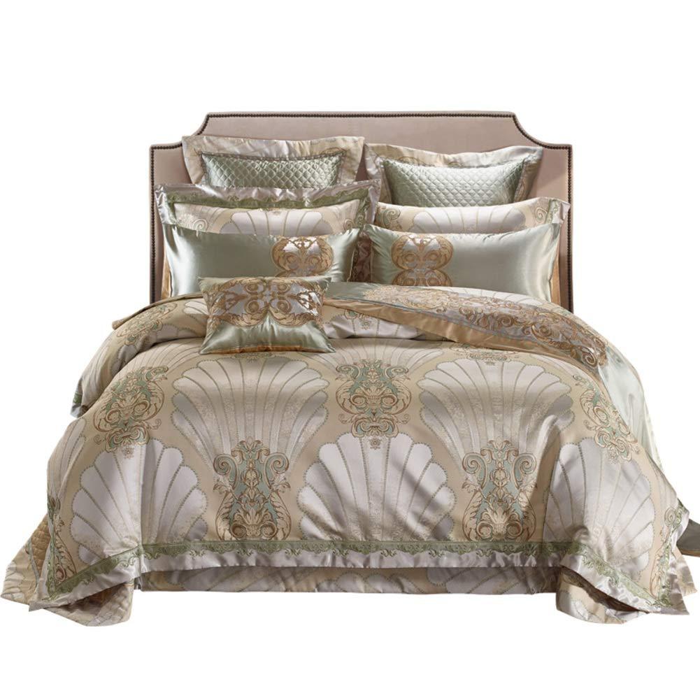 高級サテン ジャカード 寝具カバーセット, 10% 刺繍 ダブル クイーン キング サイズ キルティングプロセス ベッド セット 羽毛布団カバー ベッド 時代を超越したデザイン-A B07NYXTVK2