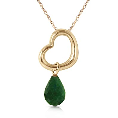 Amazon alarri 14k solid gold heart necklace w dangling natural alarri 14k solid gold heart necklace w dangling natural emerald with 20 inch chain length aloadofball Images