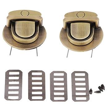 D DOLITY Broche de Bolso Hebilla de Cierre de Metal Pinzas para Bolso de Cuero PU - Ronda de Bronce: Amazon.es: Hogar