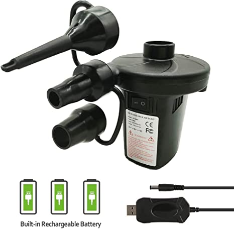 Paddling Pool Inflator Deflator Mains Power Airbed Pump 3 Nozzles Camping Tools