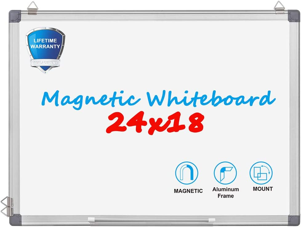 Magnetic Dry Erase Board - WEYOUNG 24 x 18 Inch Wall Hanging White Board with 6 Magnets, 3 Markers,1 Magnetic Dry Eraser for School, Home, Office (24 x 18 inch)