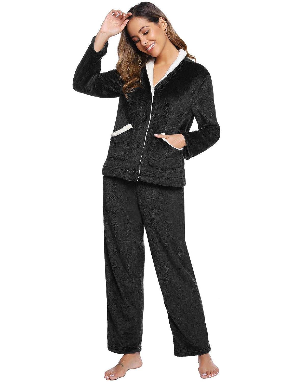 Abollria Pyjama Femmme de Flanelle Lot Pyjamas Super Doux et Chaud pour Hiver Haut et Bas de Pyjama