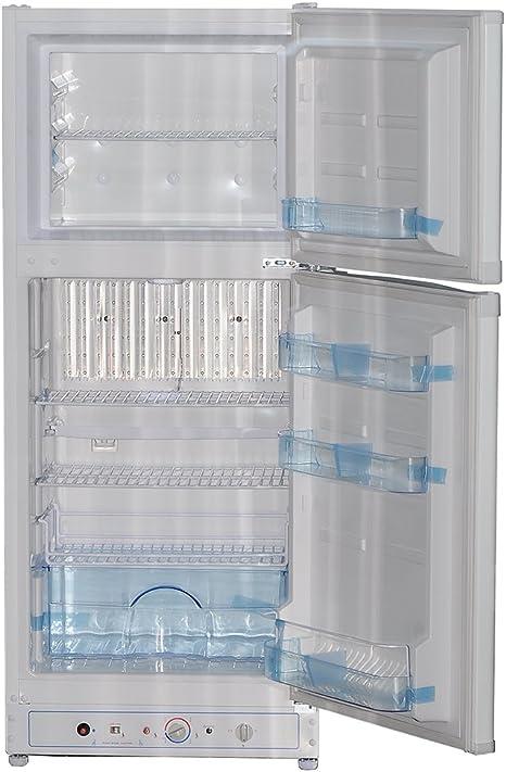 Refrigerador eléctrico de gas Smad con 2 puertas y congelador, refrigerador de propano para camping, 6.1 pies cúbicos, color blanco