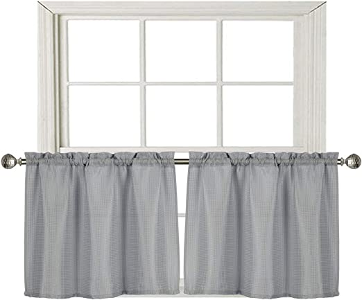 Amazon Com Home Queen Waffle Tier Curtains For Kitchen Window Waterproof Rod Pocket Bathroom Window Curtain For Small Window 2 Pack 36 W X 24 L Inch Each Solid Grey Kitchen Dining