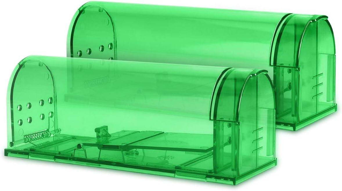 Navaris 2X Trampa para Ratas - Set de 2 trampas para Ratones y Otros Animales pequeños - Ratonera de plástico de Color Verde Transparente