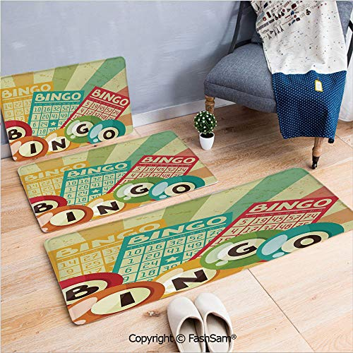 3 Piece Fashion Flannel Door Mat Carpet Bingo Game with Ball and Cards Pop Art Stylized Lottery Hobby Celebration Theme for Door Rugs Living Room(W15.7xL23.6 by W19.6xL31.5 by W35.4xL62.9)