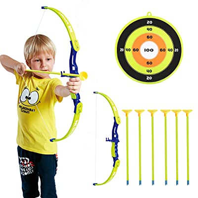 Conthfut Archery Set Kids Green Bow and Arrow Play Toy, Outdoor Hunting Game with 6 Suction Cup Arrows, Target for Boys and Girls: Toys & Games